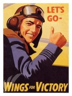 1943 WWII British poster Let's Go - Wings for Victory