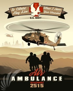 2515th Naval Air Ambulance Detachment MH-60S air-ambulance-2515-sp00466-vintage-military-aviation-travel-poster-art-print-gift