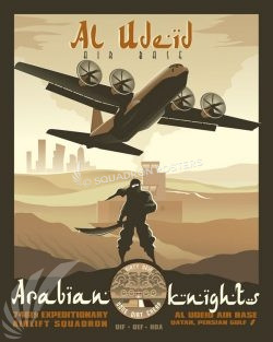 Al Udeid - C-130J - 746 EAS Al_Udeid_AB_C-130J_746_EAS_SP01439-featured-aircraft-lithograph-vintage-airplane-poster-art