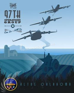 Altus AFB 97th Operations Group Altus_AFB_KC-135_KC-46_C-17_97th_OG_SP01367-featured-aircraft-lithograph-vintage-airplane-poster-art