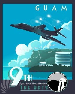 Andersen AFB Guam 9th EBS, B-1B Andersen_AFB_Guam_B-1_9th_EBS_SP01421-featured-aircraft-lithograph-vintage-airplane-poster-art