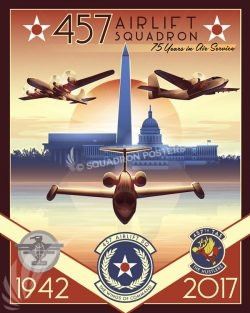 457th Airlift Squadron 75th Anniversary Art Andrews_AFB_C-21_457_AS_SP01341-featured-aircraft-lithograph-vintage-airplane-poster-art