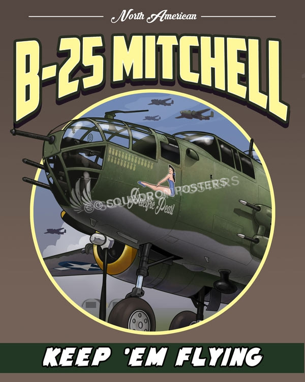 B-25 Mitchell SP00738 featured-aircraft-lithograph-vintage-airplane-poster-art