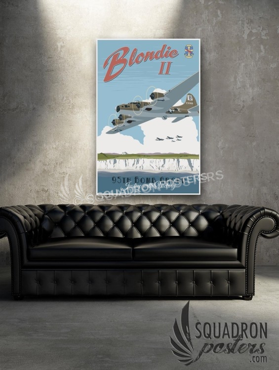 Blondie B-17 95 Bomb Group SP00632-vintage-military-aviation-canvas-travel-print-gift