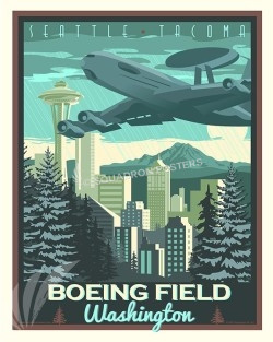 Boeing Field E-3 16x20 SP00507-vintage-military-aviation-travel-poster-art-print-gift