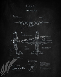 C-130H_Blueprint_Blackboard_SP00850-featured-aircraft-lithograph-vintage-airplane-poster-art