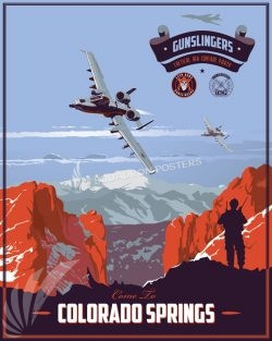 Fort Carson 13th Air Support Operations Squadron Colorado_A-10_13_ASOS_Gunslingers_v2_SP01327-featured-aircraft-lithograph-vintage-airplane-poster-art