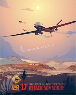 17th Attack Squadron MQ-9 Creech_AFB_MQ-9_17th_ATKS_SP01455-featured-aircraft-lithograph-vintage-airplane-poster-art