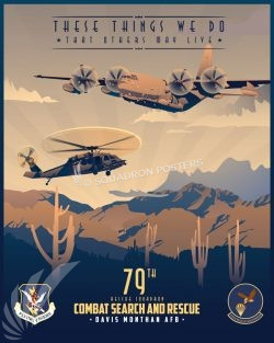 Davis-Monthan AFB, 79th Rescue Squadron Davis_Monthan_HC-130J_HH-60_79th_RS_SP01469-featured-aircraft-lithograph-vintage-airplane-poster-art