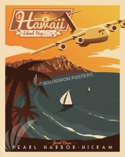 Pearl Harbor-Hickam C-17 Retro Print
