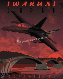 MCAS Iwakuni VFA-195 F-18 Iwakuni_FA18D_VFA-195_SP01322-featured-aircraft-lithograph-vintage-airplane-poster-art