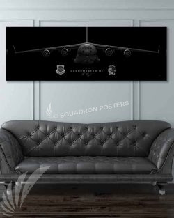 C-17 3rd AS Jet Black Super Wide Canvas Print JET_BLACK_Dover_AFB_3d_AS_C-17_60x20_SP01310-military-air-force-aviation-artwork-poster-jet-black-litho