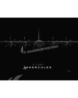 Jet Black C-130J Super Herc 20x16 SP00918MFEAT-jet-black-aircraft-lithograph