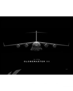 C-17 Globemaster III Jet Black Lithograph jet-black-c-17-sp01211-feat-jet-black-aircraft-lithograph-art