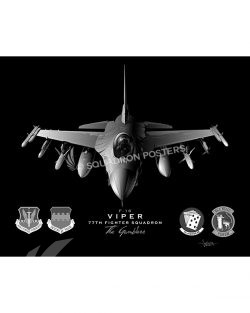 F-16 77 FS Jet Black Lithograph Jet Black F-16 77th FS SP01331-FEAT-jet-black-aircraft-lithograph