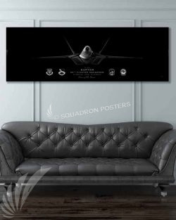 F-22, 95th FS Jet Black Super Wide Canvas Print Jet_Black_Tyndall_AFB_F-22_95th_FS_60x20_SP01396-military-air-force-aviation-artwork-poster-jet-black-litho