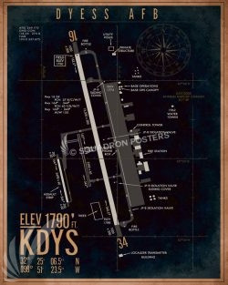 Dyess AFB KDYS Airfield Map Art KDYS_Dyess_AFB_Airfield_Art_SP01355-featured-aircraft-lithograph-vintage-airplane-poster-art