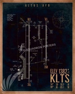 Altus AFB KLTS Airfield Map Art KLTS_Altus_AFB_Airfield_Art_SP01363-featured-aircraft-lithograph-vintage-airplane-poster-art