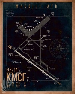 MacDill AFB KMCF Airfield Map Art KMCF_Macdill_AFB_v2-SP01328-featured-aircraft-lithograph-vintage-airplane-poster-art