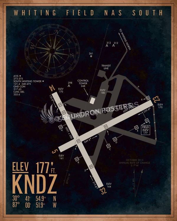 Nas Whiting Field  U2013 South Kndz Airfield Map Art