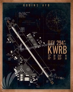 KWRB_Robins_AFB_Airfield_Art_SP01497-featured-aircraft-lithograph-vintage-airplane-poster-art