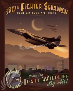 Mountain Home F-15C 390 FS SP00518-vintage-military-aviation-travel-poster-art-print-gift