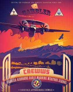 NAS Fallon CAEWWS E-2 Hawkeye nas_fallon_nevada_e-2_caewws_sp01207-featured-aircraft-lithograph-vintage-airplane-poster-art