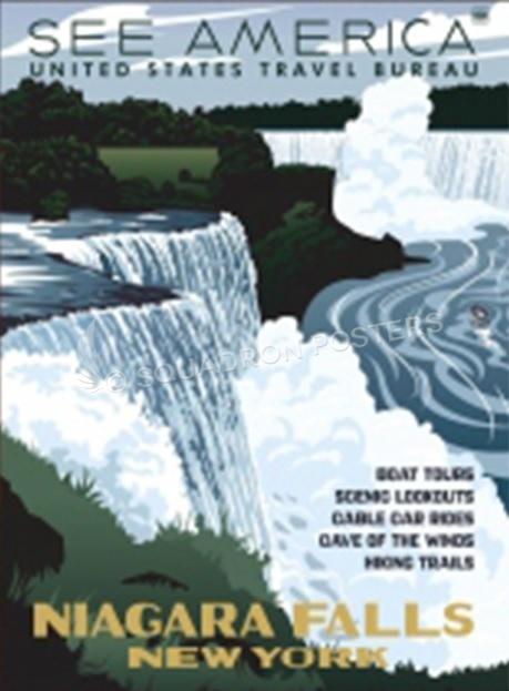 US Travel Bureau 1930s poster promoting Niagara Falls
