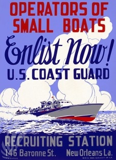 """Original Vintage WWII poster: """"Operators of Small Boats. Enlist Now!"""""""