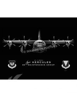 C-130J 86 MXG Jet Black Lithograph Ramstein 86 MXG C-130J JET BLACK SP01319-FEAT-jet-black-aircraft-lithograph