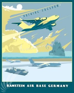 Ramstein Air Base, C-17 Ramstein_AB_C-17_SP01419-featured-aircraft-lithograph-vintage-airplane-poster-art