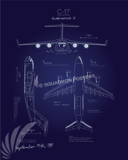 C-17 Blueprint Art C-17 Globemaster II Blueprint Art SP00635 feature-vintage-style-military-aviation-print-gift