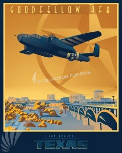 Goodfellow AFB B-25 san_angelo_b-25_generic_sp01229-featured-aircraft-lithograph-vintage-airplane-poster-art