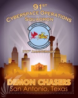 91st Cyberspace Operations Squadron 100th Anniversary Art San_Antonio_Texas_91st_Cyberspace_Wing_SP01454-featured-aircraft-lithograph-vintage-airplane-poster-art