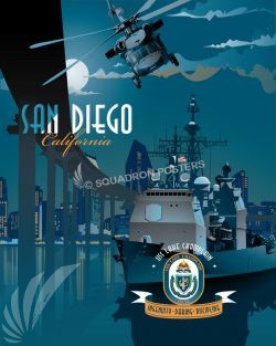 USS Lake Champlain CG-57 San Diego San_Diego_CG-57_USS_CHAMPLAIN_SP01276-featured-aircraft-lithograph-vintage-airplane-poster-art