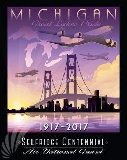 Selfridge ANG Base Centennial Anniversary Art Selfridge_MI_ANG_KC-135-A-10-Centennial_SP01351-featured-aircraft-lithograph-vintage-airplane-poster-art