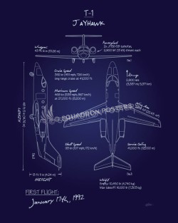 T-1 Jayhawk Blueprint Art T-1_Jayhawk_Blueprint_SP01016-featured-aircraft-lithograph-vintage-airplane-poster-art