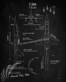 T-38A_Talon_Blackboard_SP01045-featured-aircraft-lithograph-vintage-airplane-poster-art