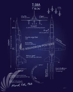 T-38A_Talon_Blueprint_SP01044-featured-aircraft-lithograph-vintage-airplane-poster-art