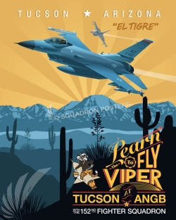 Tucson Az F-16 152nd FS Yellow SP00698 feature-vintage-print