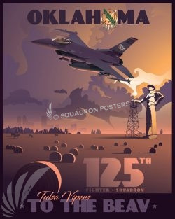 125th Fighter Squadron F-16 Tulsa Oklahoma Tulsa_Oklahoma_F-16_125th_FS_SP01440-featured-aircraft-lithograph-vintage-airplane-poster-art