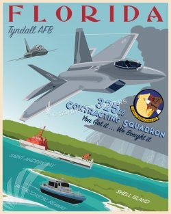 Tyndall AFB 325th Contracting Squadron tyndall_afb_325th_cts_sp01223-featured-aircraft-lithograph-vintage-airplane-poster-art