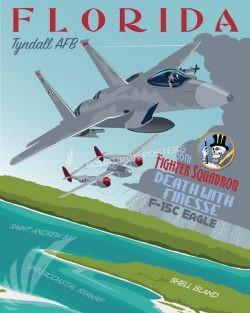 Tyndall AFB 95th FS F-15 tyndall_f15_95th_fs_sp01224-featured-aircraft-lithograph-vintage-airplane-poster-art