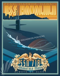 USS Honolulu Pearl Harbor HI SP00519-vintage-military-aviation-travel-poster-art-print-gift