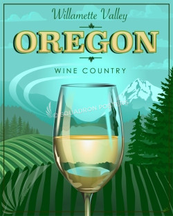 Willamette Valley Oregon Wine Poster SP00735 featured-vacation-lithograph-vintage-poster-art