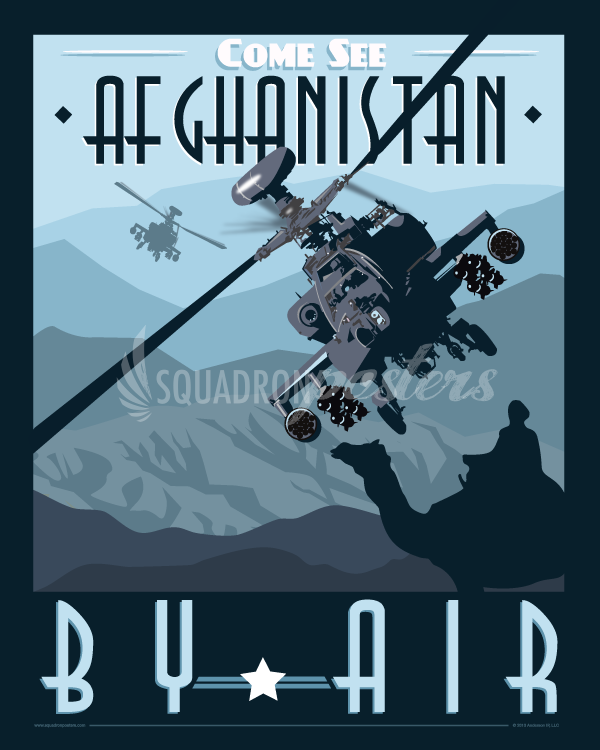 vintage army aviation poster over afghanistan Apache AH-64