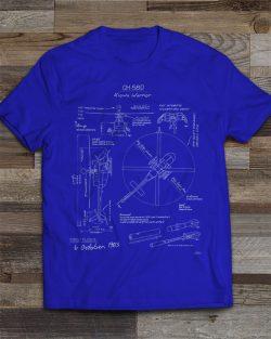 OH-58D Kiowa Blueprint T-Shirt Royal Blue