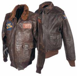 Leather Bomber Jacket Style – Custom Patch Art – Squadron