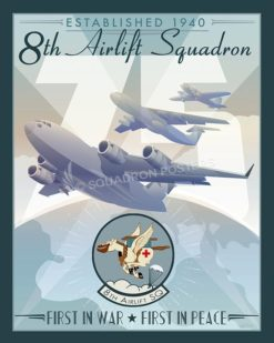 8th Airlift Squadron 75th Anniversary 8 AS 75th Anniversary McChord SP00595-vintage-military-aviation-travel-poster-art-print-gift