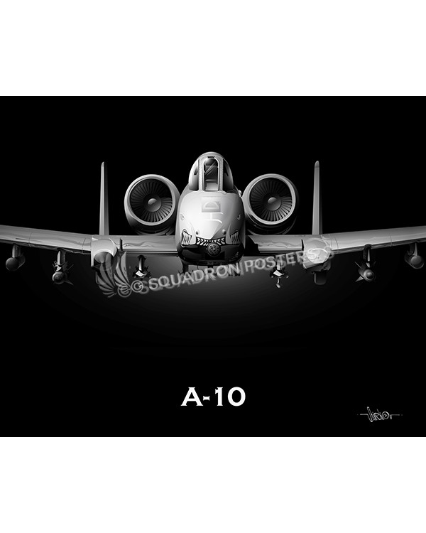 Warthog Jet Black Lithograph, 442d FW A-10 Jet Black Warthog Nose SP00979-featured-canvas-lithograph